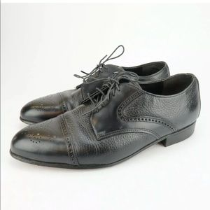 Dexter Oxford Mens Black Leather Cap toe Shoes